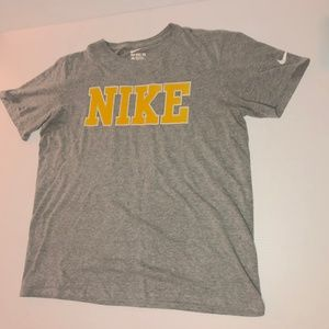 Grey Nike Tee with Yellow Lettering